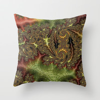 Funky Weaves Weaving Branches Green Red Golden Fractal Abstract Art Pattern Digital Graphic Design Throw Pillow by Phenom Pixels