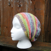 Pastel Rainbow Striped Crochet Slouchy Tam Beanie Hat Spring fashion, MADE TO ORDER.