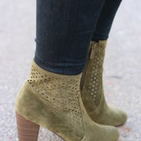 Chic & Sassy Faux Suede Bootie ~ Olive