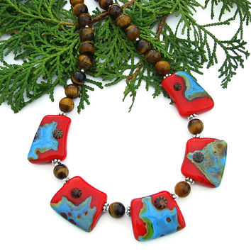 Turquoise and Red Southwest Necklace, Handmade Statement Jewelry Women