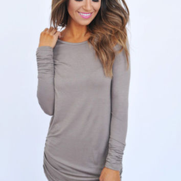 Long Sleeve Ruched Tunic- Taupe