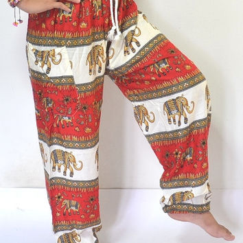 Thai handmade Long Yoga Pants Red and cream color/Harem Pants/Elephant Print design/Drawstring elastic waist/Meditation pant/Maternity pant