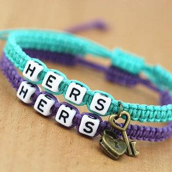 Couples Bracelets Set, Hers and Hers Bracelets, Key and Lock Bracelets, Gay Lesbian Bracelets = 1929937924