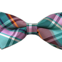 LBI Plaid - Green Teal/Merlot/Pink (Bow Ties) from TheTieBar.com - Wear Your Good Tie Everyday