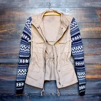 khaki cargo jacket with pattern knit sleeves