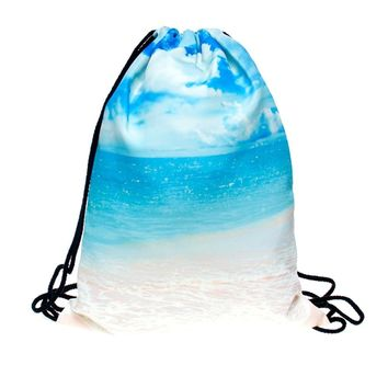 Beach Sea Sand Blue Water Drawstring Bags Cinch String Backpack