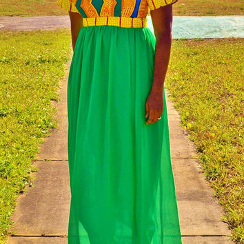 Green and Yellow Ankara/Chiffon Dress