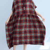 Vintage Women Short Sleeve O-Neck Plaid Print Dresses