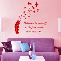 Wall Decal Quote Believing in Yourself is The First Vinyl Sticker Birds Feather Art Mural Home Boho Decor Living Room Interior Design KI21