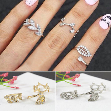 New Arrival 2015 3Pcs Fashion Womens Alloy Gold/Silver Rhinestone Leaf Above Knuckle Finger Ring 76IK