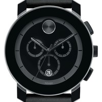 Men's Movado 'Bold' Chronograph Leather Strap Watch, 42mm