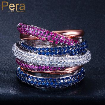 Pera Luxury Royal Unisex Engagement Prom Party Big Statement Rose Red Blue Round Shape Cubic Zirconia Finger Ring for women R085