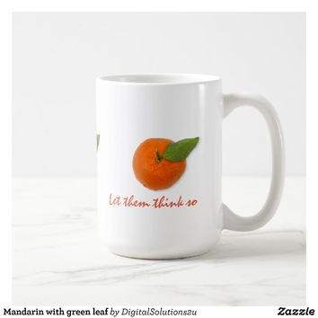Mandarin with green leaf coffee mug