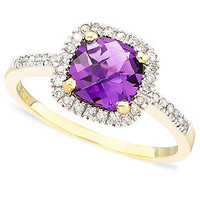 10k Gold Cushion-Cut Amethyst (1 ct. t.w.) & Diamond Ring (1/10 ct. t.w.)