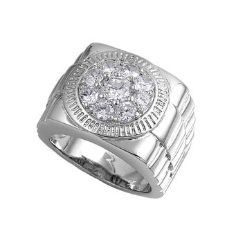 925 Sterling Silver CZ Designer Round Men's Ring 20MM