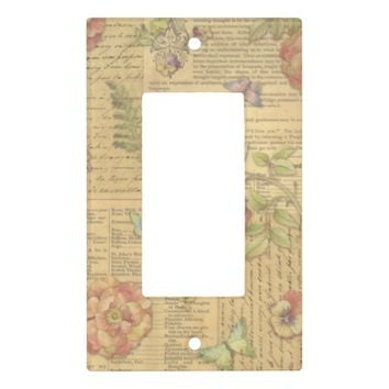 Vintage Floral Print Light Switch Plates