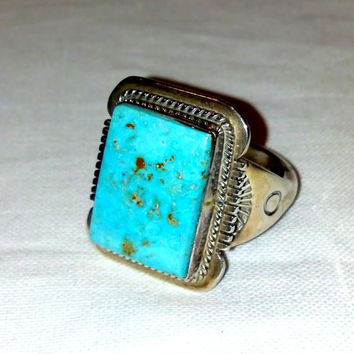 161e6ed6f24603 Native American Indian Turquoise Ring Large Ring Size 12 1/2 Sou