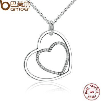 BAMOER Classic 925 Sterling Silver Heart To Heart Pendant Necklace, Clear CZ Pen