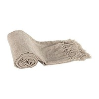 Ben and Jonah Knitted Chenille Throw Blanket (Beige Chenille)