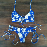 HOT BLUE TWO PIECE BOW TREE PINEAPPLE BIKINIS