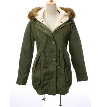 Women's Thicken Fleece Winter Warm Faux Fur Coat Zip Hooded Parka Jacket(Army greenSize S-XXL) [7656051782]
