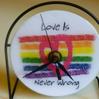 Love Is Never Wrong  Recycled CD Clock Art