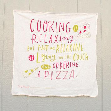 Cooking Is Relaxing Cotton Screen Printed Tea Towel Dish Towel 30x30