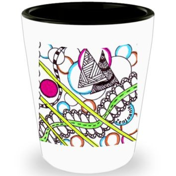 "Zentangle Shot Glass - Have a ""Shot of Art"" hand drawn by ZenJoanie - ""PathWay"" - Authentic Zentangle Stuff makes Great Gifts"