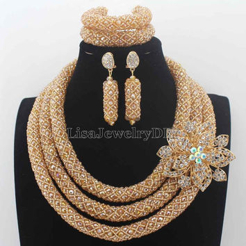 New Luxury Champagne Gold Nigerian Wedding African Beads Jewelry Set Full Beads Big Statement Necklace Set Free Shipping HD8777