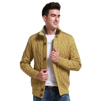 Fashion men wool cardigan Cashmere sweaters men's thick stand collar pullover slim solid mens Casual sweaters