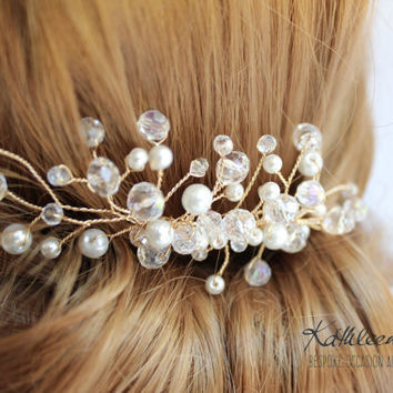 R595 Gold Wendy Hairpiece comb - Crystal & or Pearl - Ivory white clear - gold