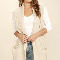 Break in the Clouds Beige Sleeveless Sweater