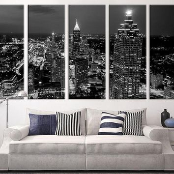 Extra Large Art - Atlanta Night Canvas Art Print, Large Wall Art Black White Atlanta City Art, Extra Large Skyline Atlanta Wall Art Print