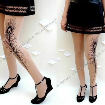 Small Medium sexy MINI and BOOTS peacock FEATHER tattoo tights / stockings/ full length / pantyhose / nylons Light Mocha