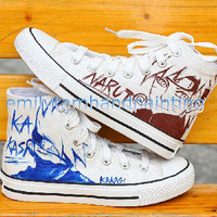 Custom Converse-Hand Paint Kakashi and Uzumaki Sketch on Converse Sneakers