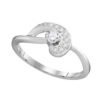 10kt White Gold Women's Round Diamond Solitaire Swirl Promise Bridal Ring 1/4 Cttw - FREE Shipping (US/CAN)