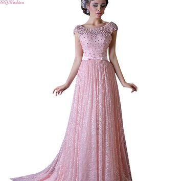 High-grade Pink Lace Long Evening Dress Bride Banquet Slim Sexy Backless Pearls Beading Party Prom Dresses
