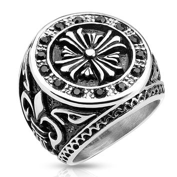 Celtic Cross Black CZ Border with Fleur De Lis Sides Stainless Steel Biker Cast Ring