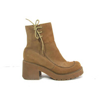 20% OFF SALE... vintage 90s tan brown chunky platform high heel ankle boots // women's 8