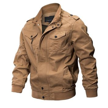 Bomber Military Pilot Jacket Men Autumn Winter Outwear Casual Washed Coats Army Flight Air Force Tactical Jacket Plus Size M-6XL