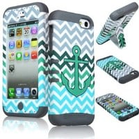 iPhone 5c Phone Case, Bastex Heavy Duty Hybrid Soft Grey Silicone Cover Hard Grey,Green,Blue Chevron with Teal Anchor Design Case for iPhone 5C