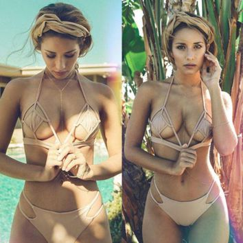 DCCKN6V Sexy more holes show body Three-point swimsuit pure color apricot two piece bikini