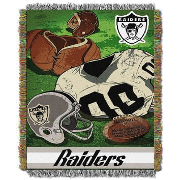 Oakland Raiders NFL Woven Tapestry Throw (Vintage Series) (48x60)