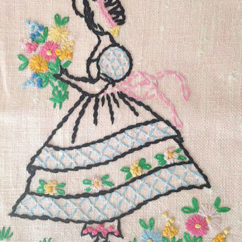 Vintage Hand Towel / Vintage Dish Towel / Kitchen Towel / Hand Stitched Pink Towel / Powder Room / Tea Towel