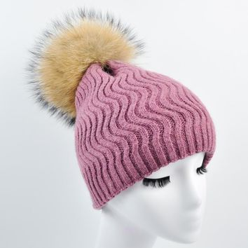 WENDYWU Wool Cashmere Women Hats with Real raccoon fur Pompom Female Skullies Beanies Fur Pompon Caps Thick Winter Fur Hats