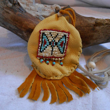 Sold - Available as custom order, Medicine Bag, Medicine Pouch, Traditional Native American Handmade, Handsewn, Hand Beaded Butterfly Design