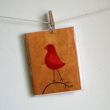 Red Bird - Greeting Card - Blank Inside with matching white envelope