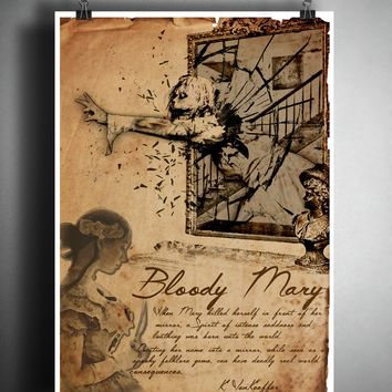 Bloody mary creepy vintage folklore art