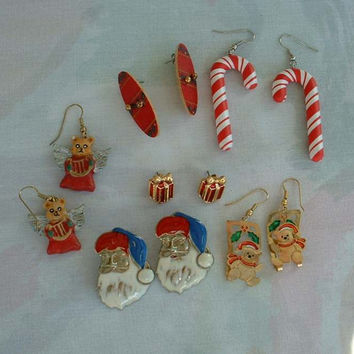 Lot of 6 pairs Christmas Earrings Wires Posts Enamel Santa Teddy Bears Angels Candy Canes