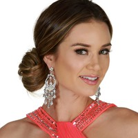 Silver Fab Faceted Rhinestone Chandelier Earrings